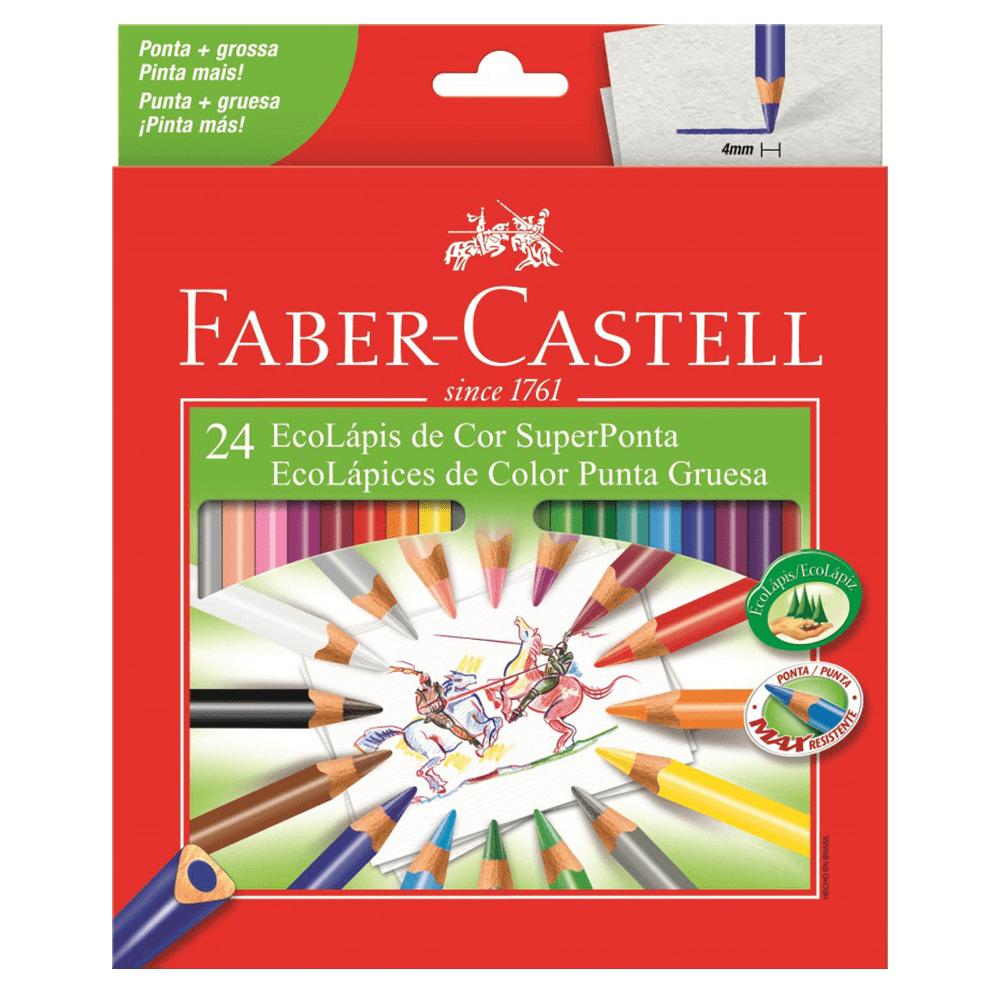 Lápis de Cor 24 Cores Super Ponta Triangular Faber Castell