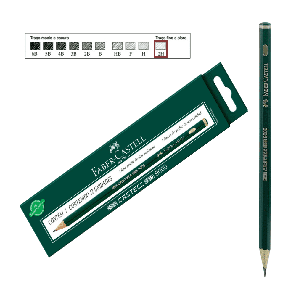 Lápis Técnico Faber Castell Preto Regent 9000-2H 12 Unidades