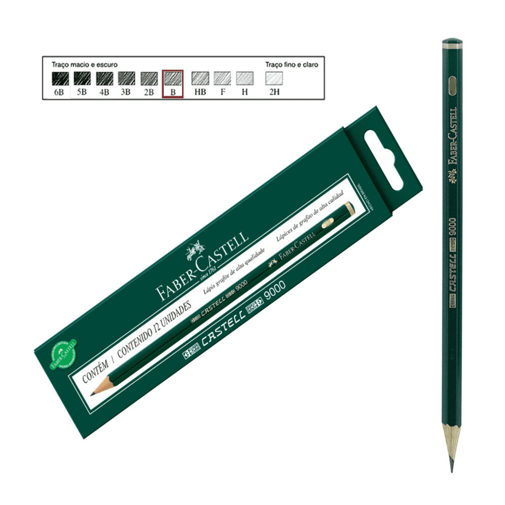 Lápis Técnico Faber Castell Preto Regent 9000-B Unidades