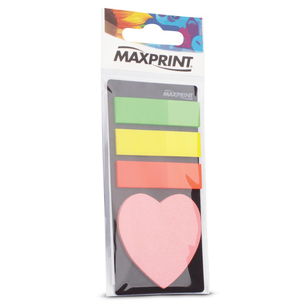 Marcador de Páginas Maxprint com Bloco Adesivo Coração 74347-3