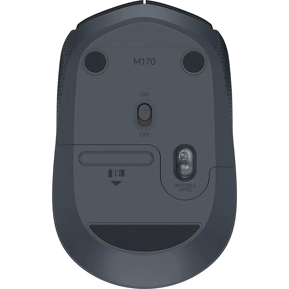 Mouse Sem Fio Optico Logitech M170 Preto e Cinza