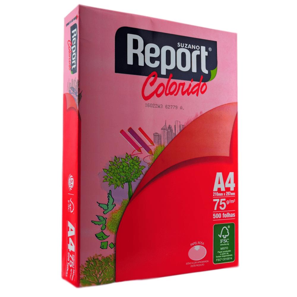 Papel Sulfite A4 Report Rosa 75G 210x297mm 500 Folhas