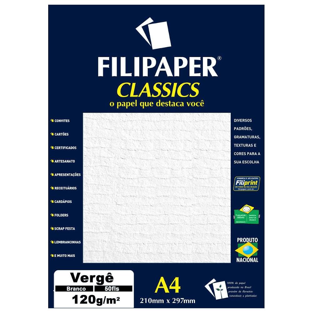Papel Verge A4 Filipaper 120g 50 Folhas Branco