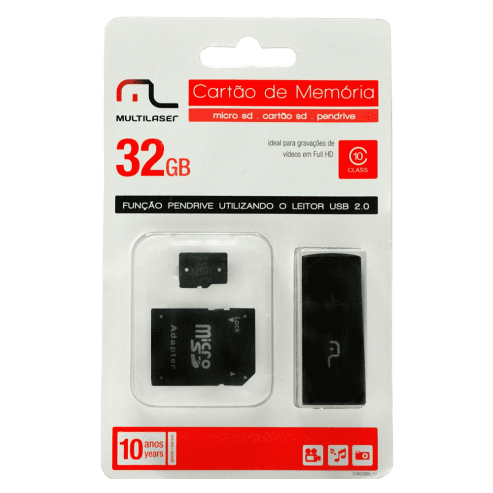 Pen Drive 32GB 3 Em 1 Micro SD Adaptador MC113 Multilaser