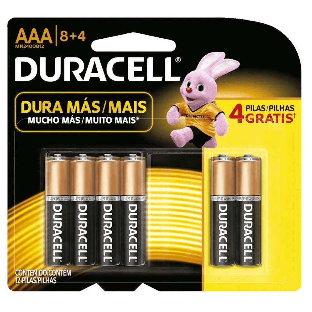 Pilha Duracell AAA Palito Cartela 8+4 Unidades