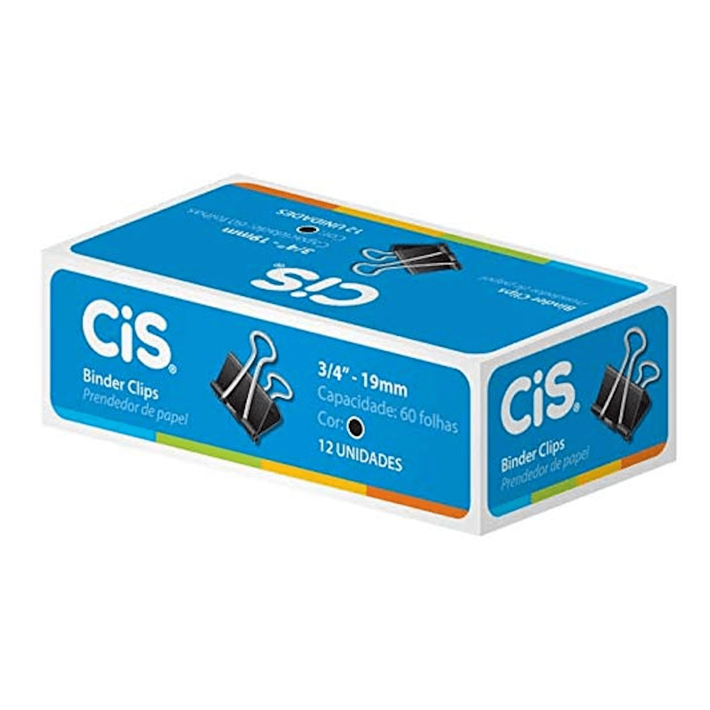 Prendendor Papel CIS 19mm 12un Preto