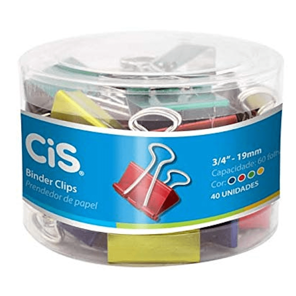 Prendendor Papel CIS 19mm 40un Colorido