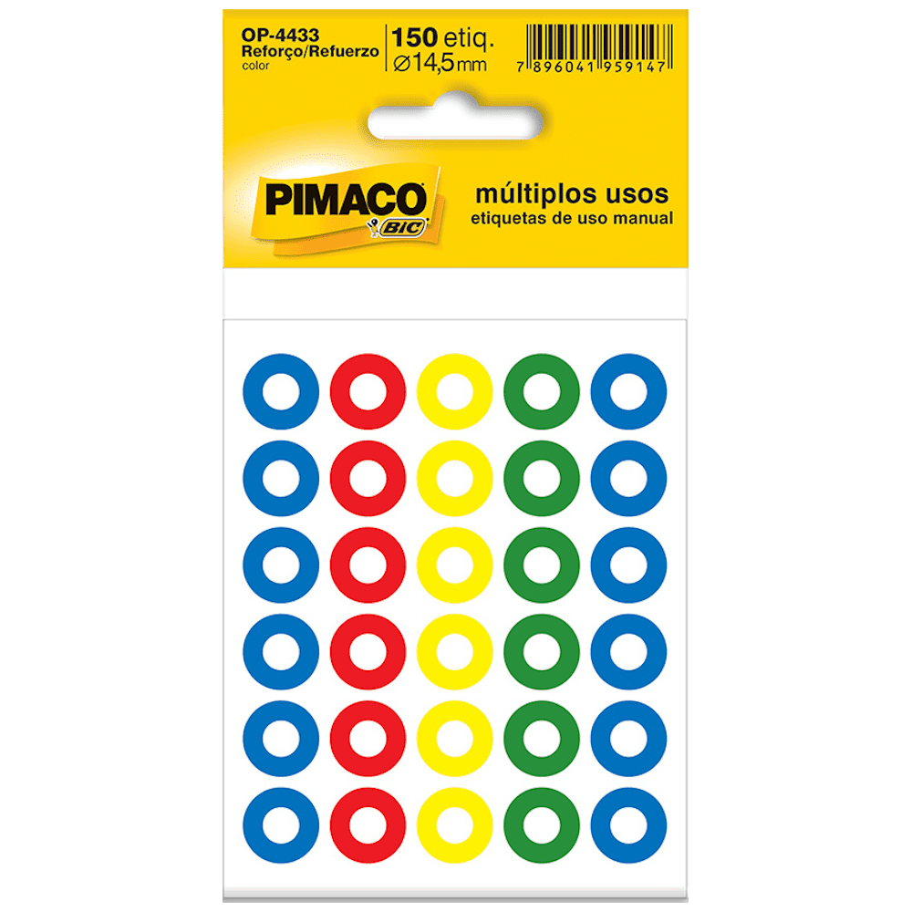 Reforço Pimaco OP-4433 Autoadesivo Colorido 14,5mm 150un