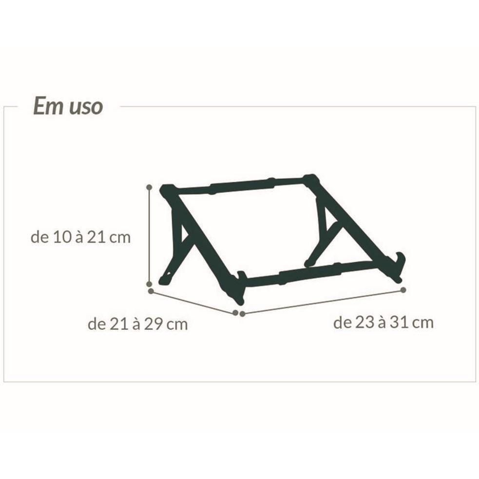 Suporte Notebook Ergonômico ABS NR17 Branco OF2648 Reliza
