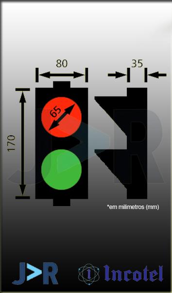 INCOTEL - SEMÁFORO MINI 2 CORES (VERDE/VERMELHO) 19 LEDS BIVOLT