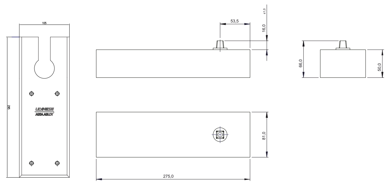 UDINESE / ASSA ABLOY - Mola de Piso UD75V EIXO Santa Marina INOX Potência 1-4 (Portas de até 120kg)