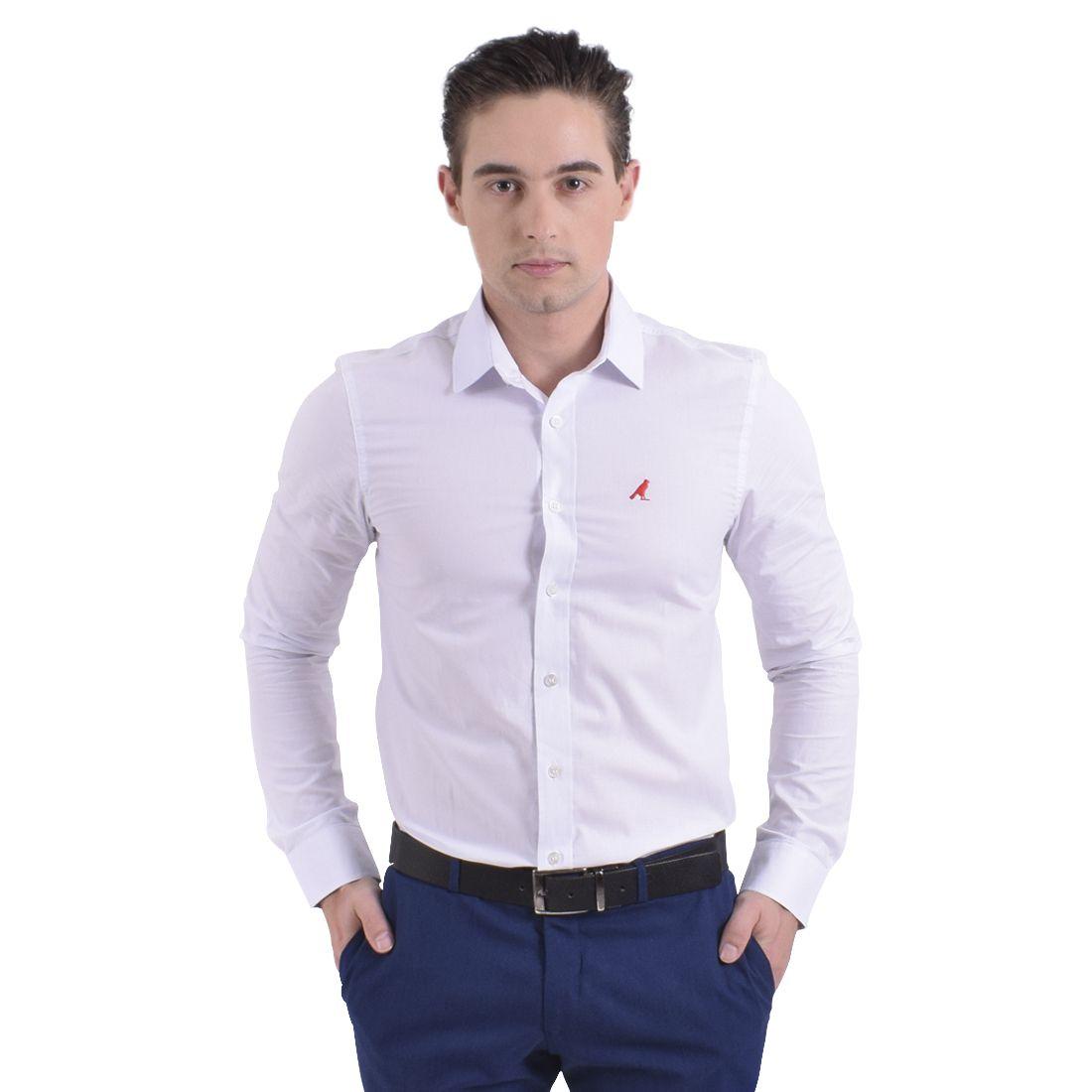 100203 - Camisa Social Masculina Slim Branca - LEVOK