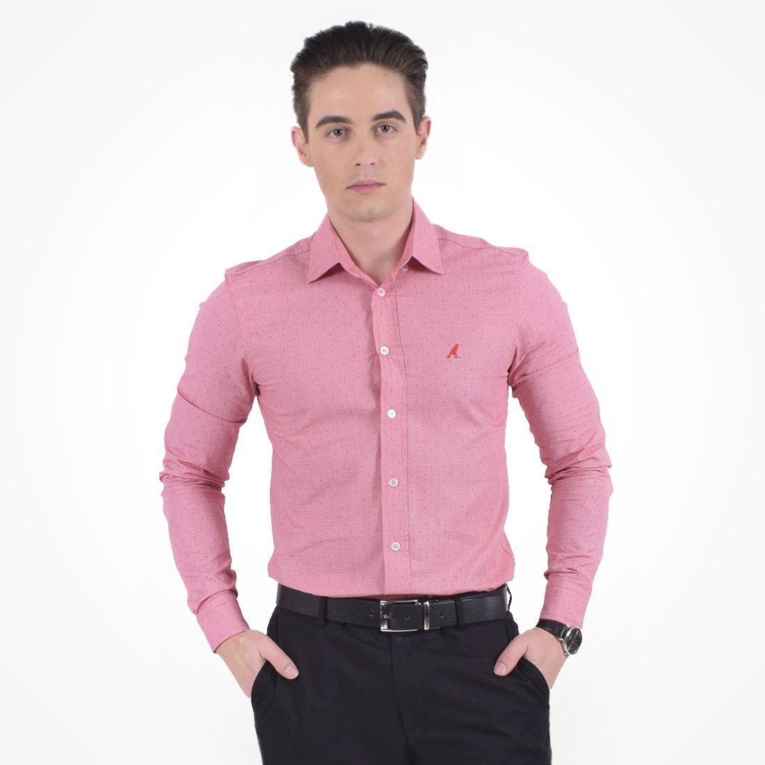 100207 - Camisa Social Vermelha Estampada Masculina Slim - LEVOK