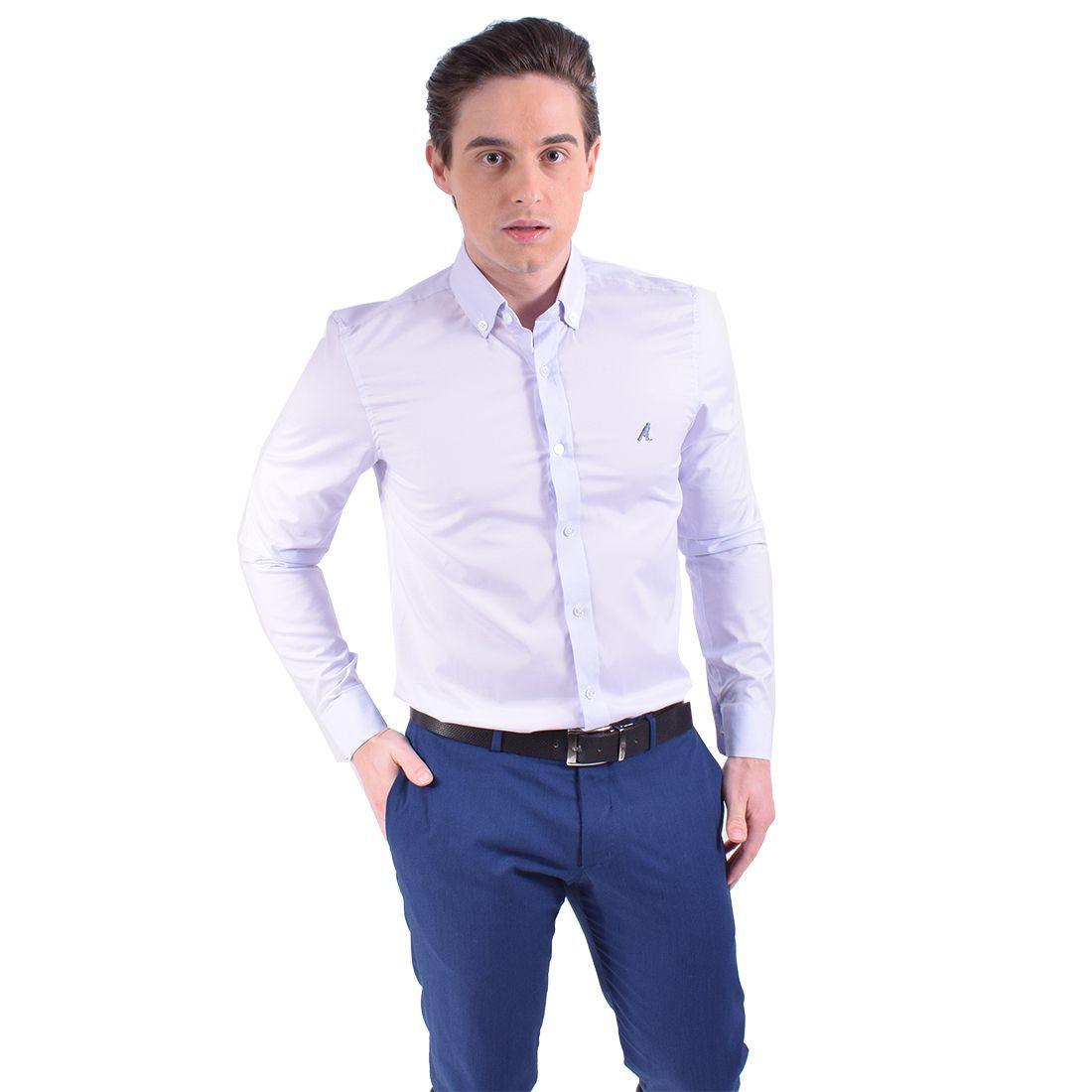 100208 - Camisa Social Masculina Slim Azul Bebe - LEVOK