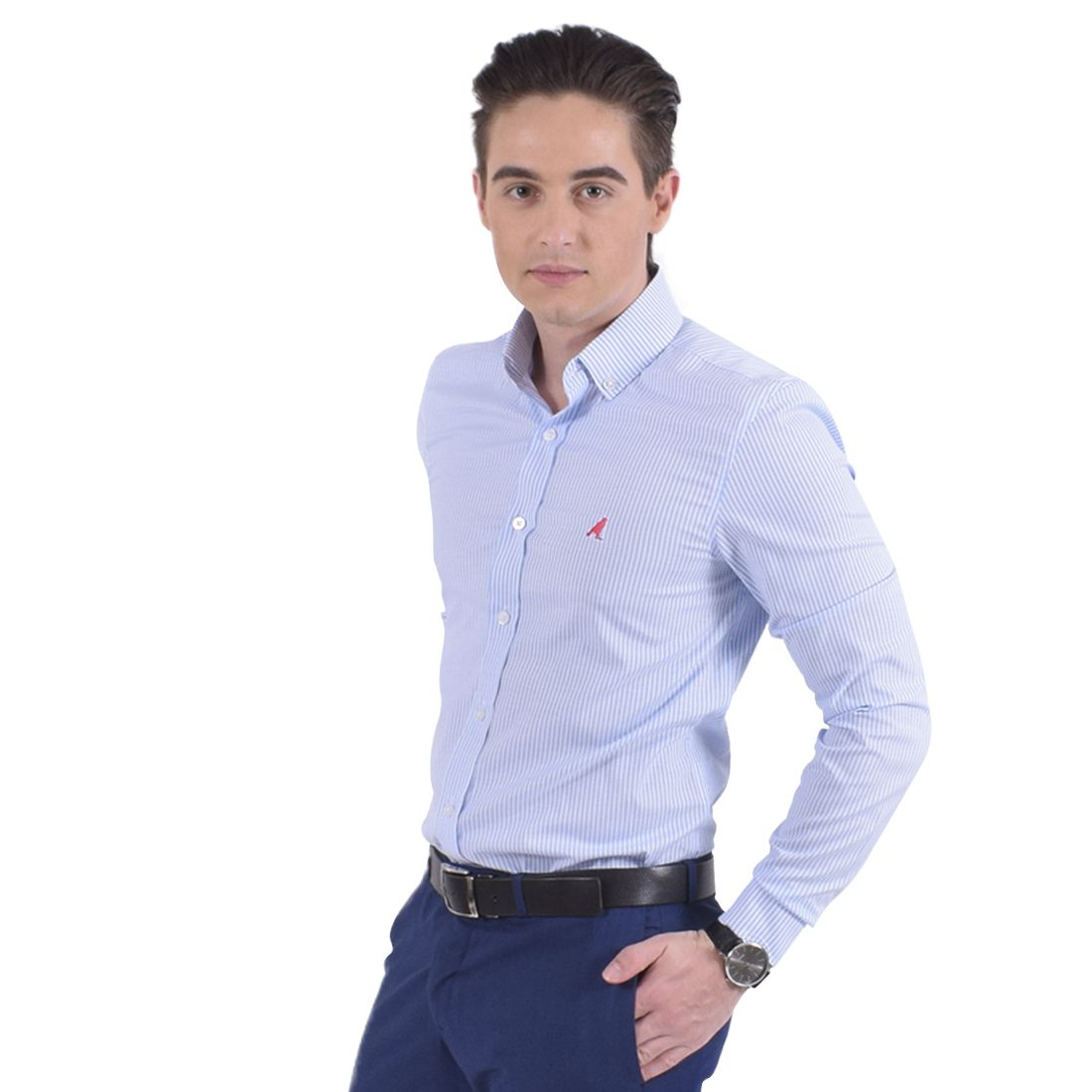 100210 - Camisa Social Masculina Slim Listra Azul - LEVOK
