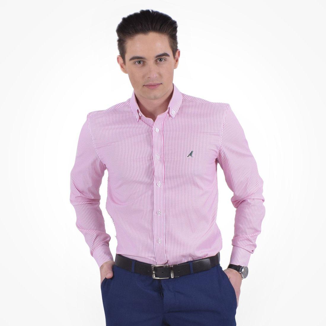 100212 - Camisa Social Listrada Masculina Slim Rosa - LEVOK