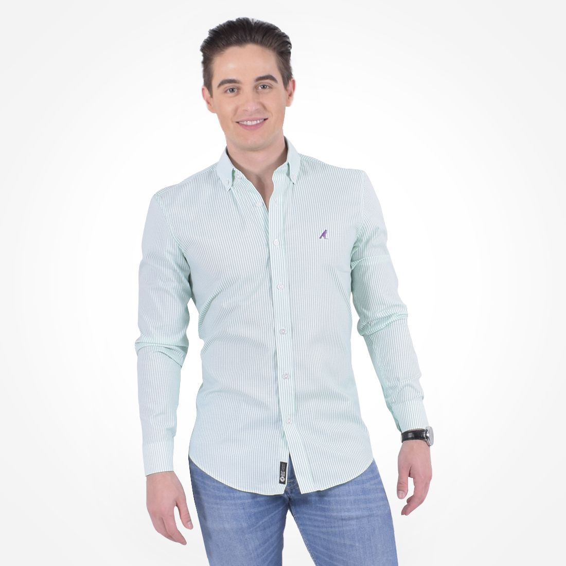 100213 - Camisa Social Listrada Masculina Slim Verde - LEVOK