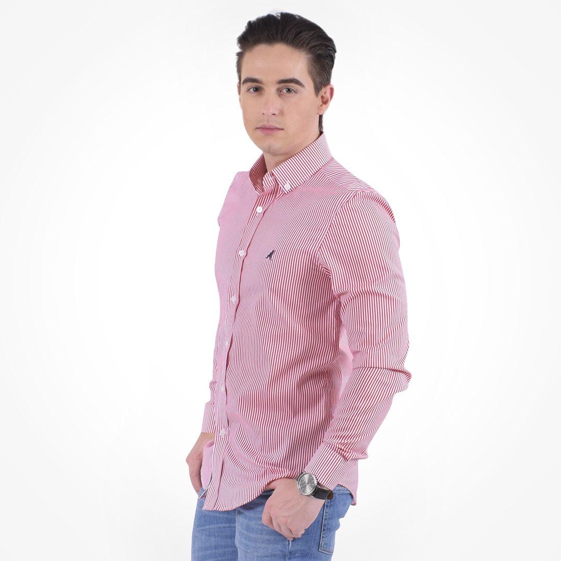 100214 - Camisa Social Listrada Masculina Slim Vermelha - LEVOK