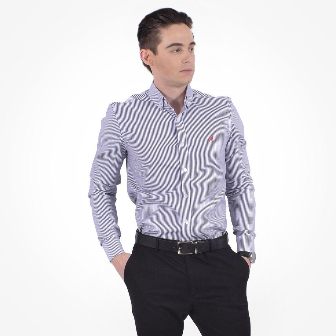 100215 - Camisa Social Listrada Masculina Slim Azul Marinho - LEVOK