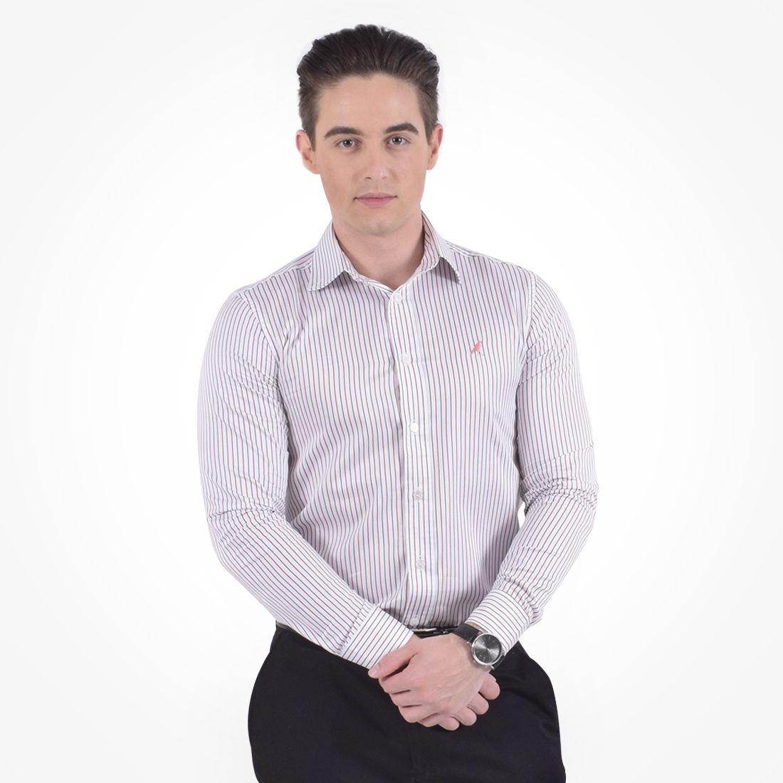 100216 - Camisa Social Listrada Masculina - LEVOK