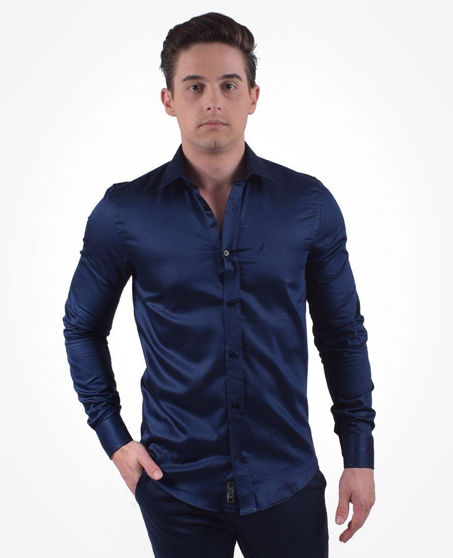 Camisa Social Azul Marinho Masculina