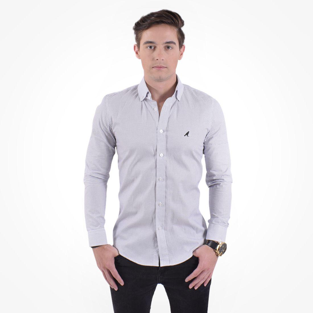 100221 - Camisa Xadrez Masculina Slim Social Branco - LEVOK