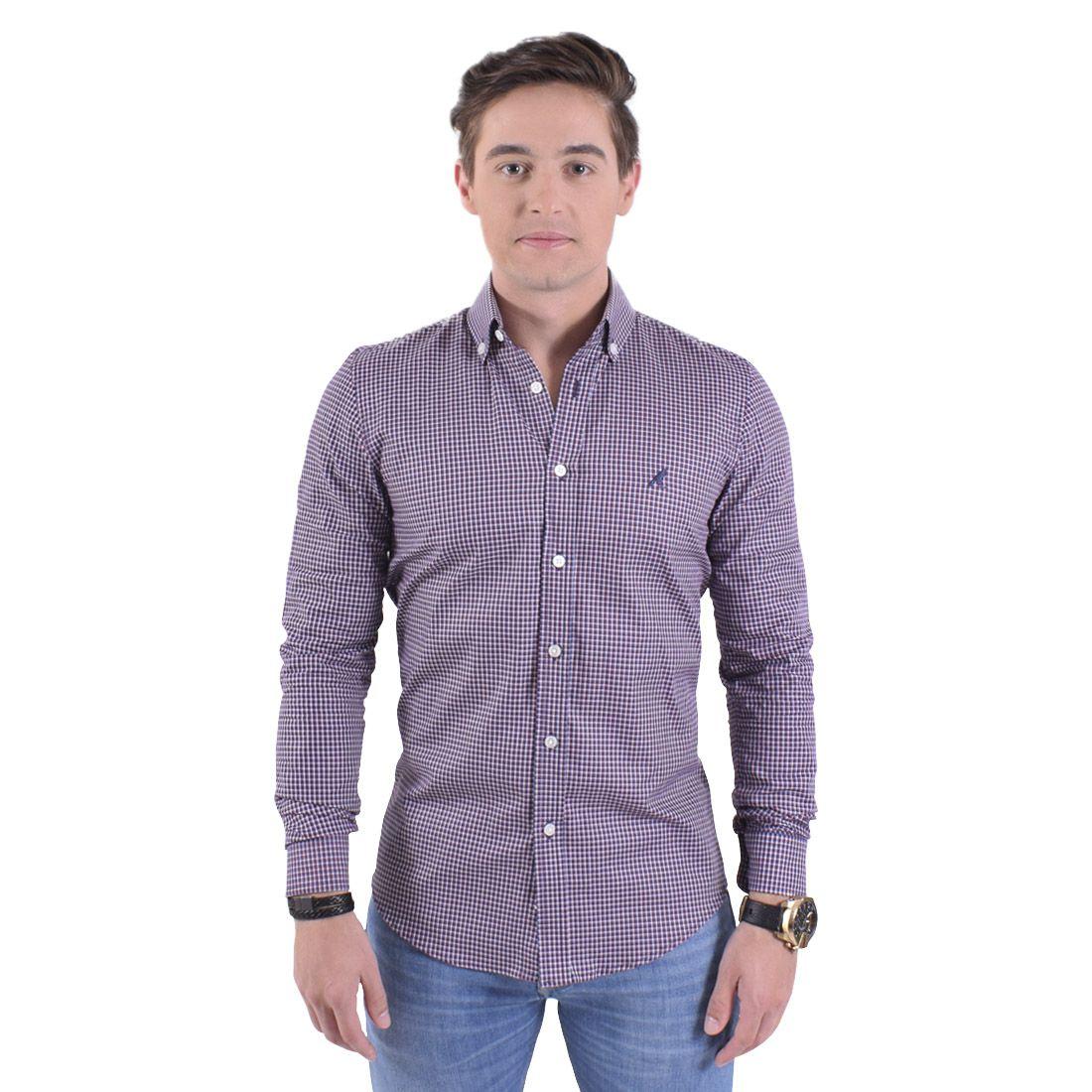 100222 - Camisa Xadrez Masculina Slim Social Purpura - LEVOK