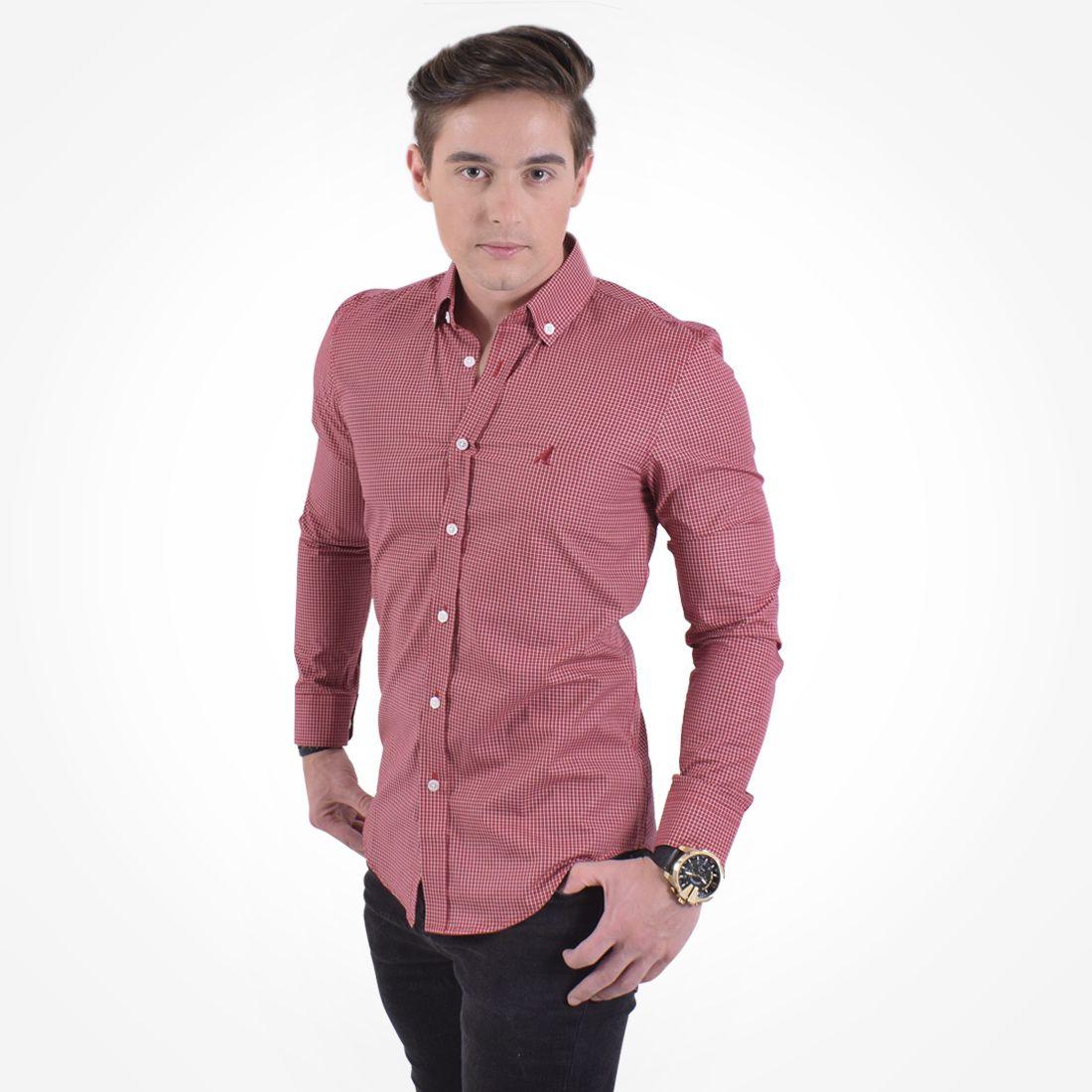 100223 - Camisa Xadrez Masculina Slim Social Vermelha - LEVOK