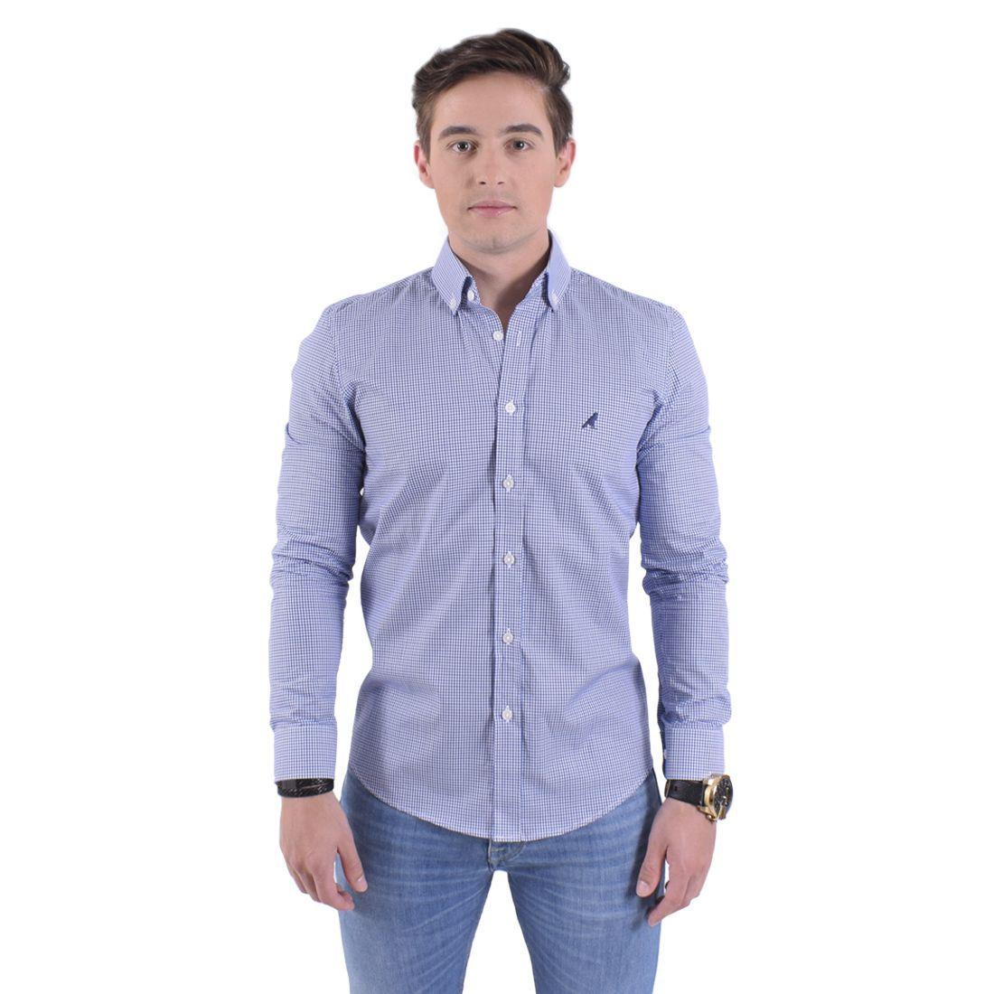 Camisa Social Xadrez Azul Aço Masculina Slim