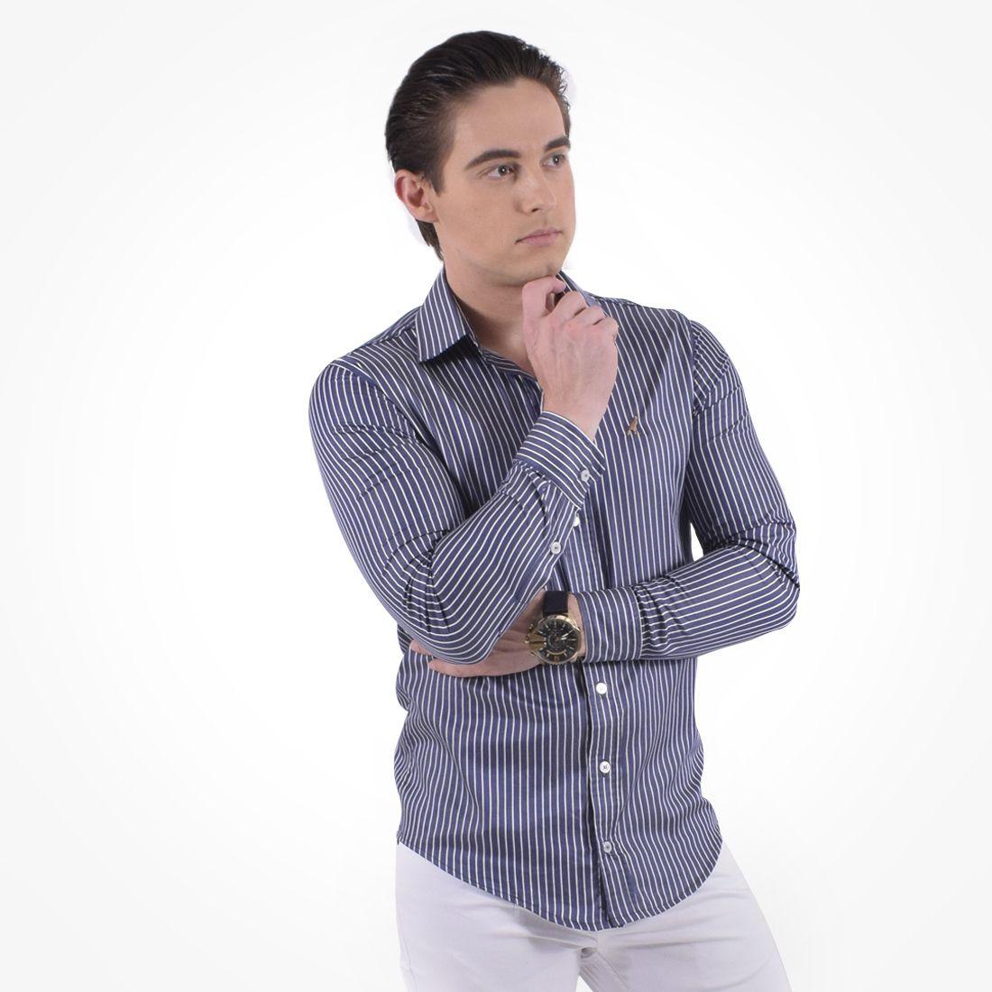 100228 - Camisa Social Listrada Masculina Slim - LEVOK