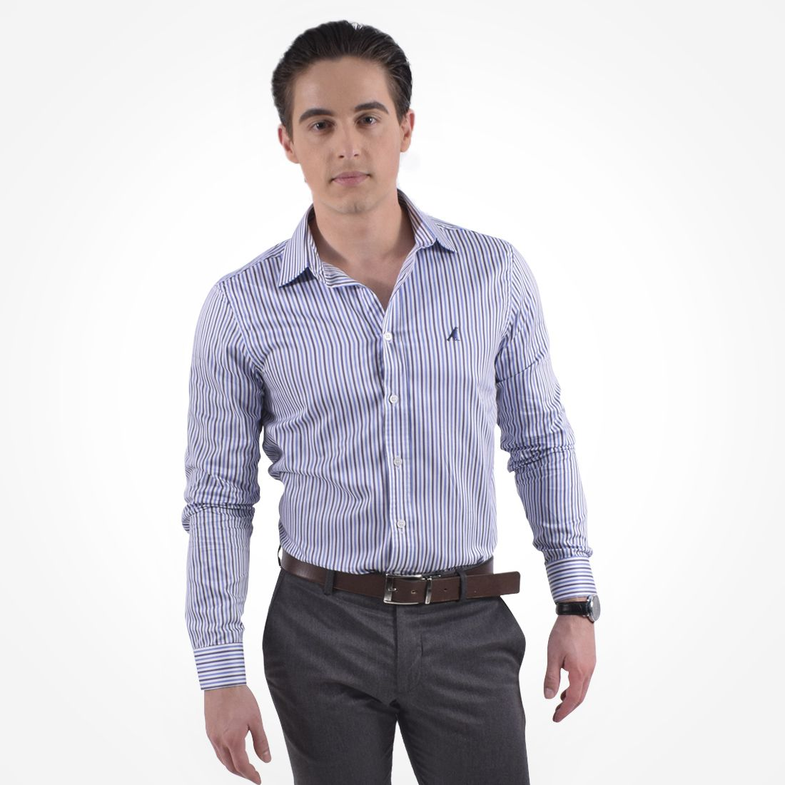 100230 - Camisa Social Listrada Masculina Slim - LEVOK
