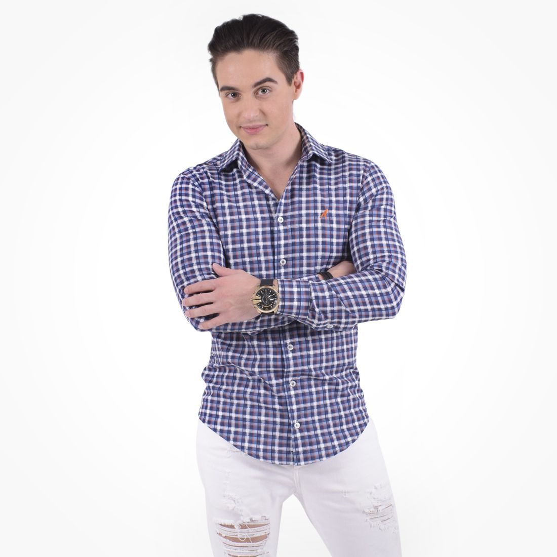 100231 - Camisa Xadrez Masculina Slim Social Estampada Azul - LEVOK