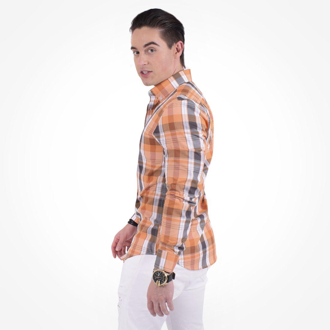 100232 - Camisa Xadrez Masculina Slim Social Estampada Laranja - LEVOK