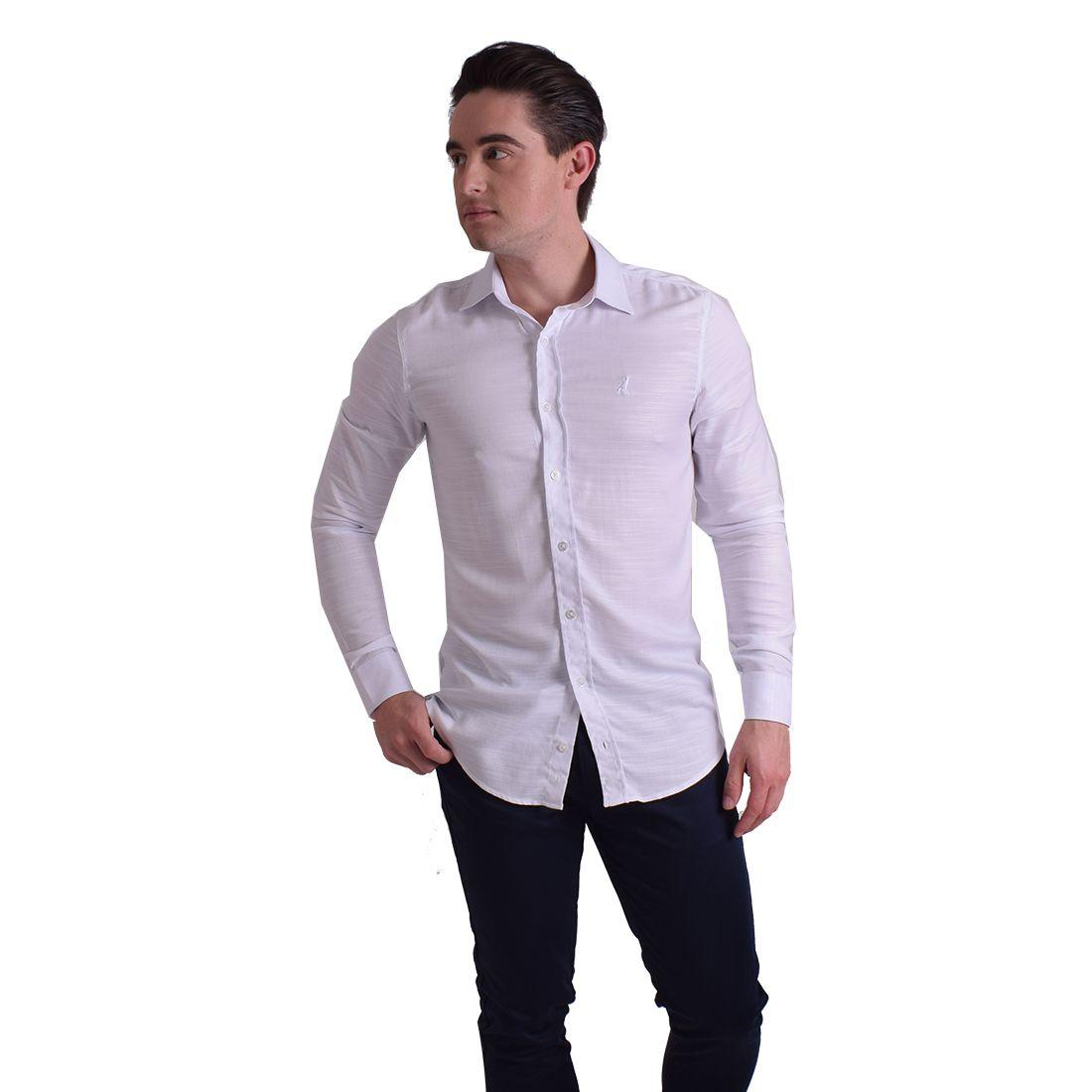 100236 - Camisa Social Masculina Slim Branca - LEVOK