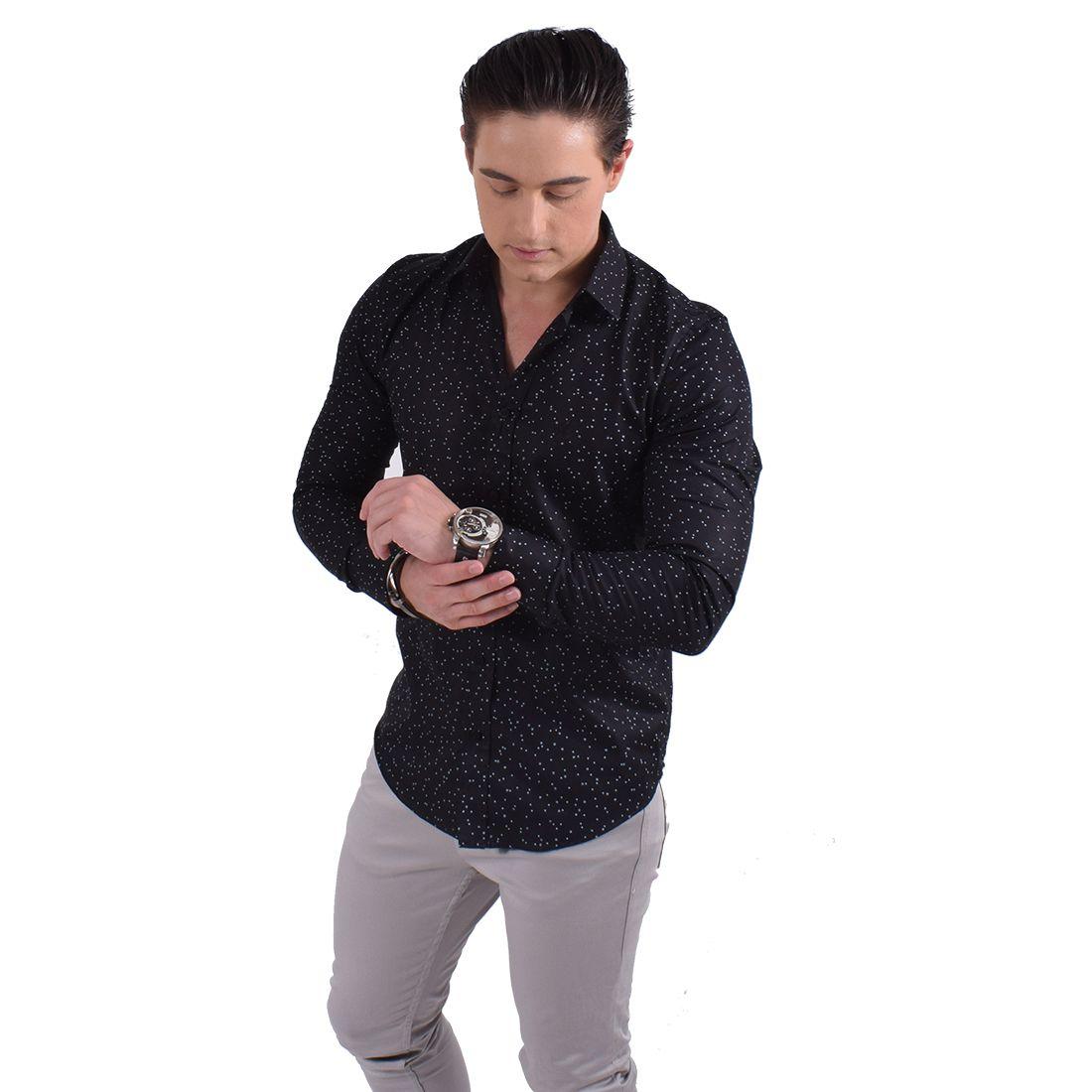 100237 - Camisa Social Masculina Slim Estampada - LEVOK