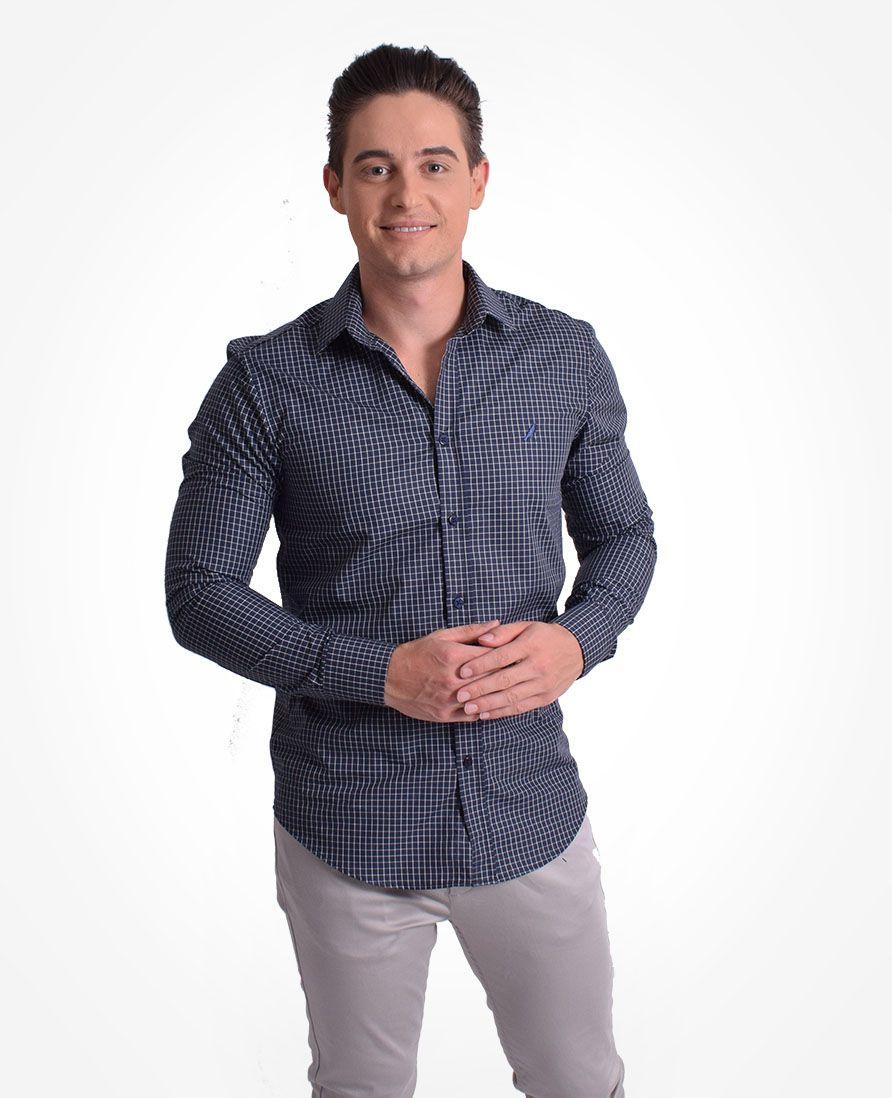 100239 - Camisa Social Masculina Slim Xadrez Azul - LEVOK