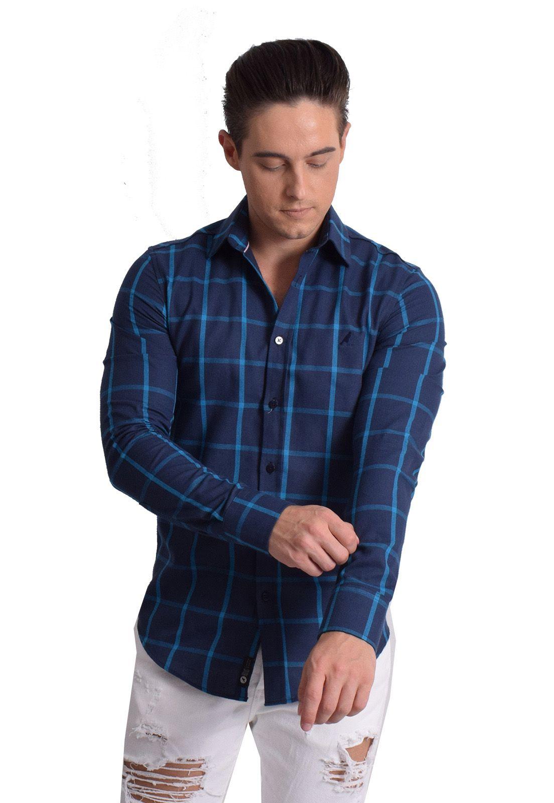 100241 - Camisa Social Masculina Slim Xadrez Azul - LEVOK