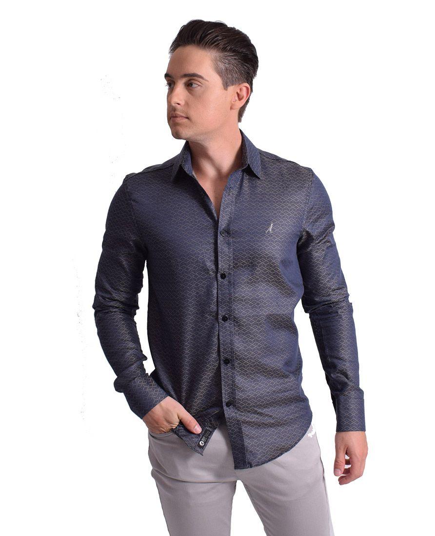 100247 - Camisa Social Masculina Slim Cinza Maquineta - LEVOK