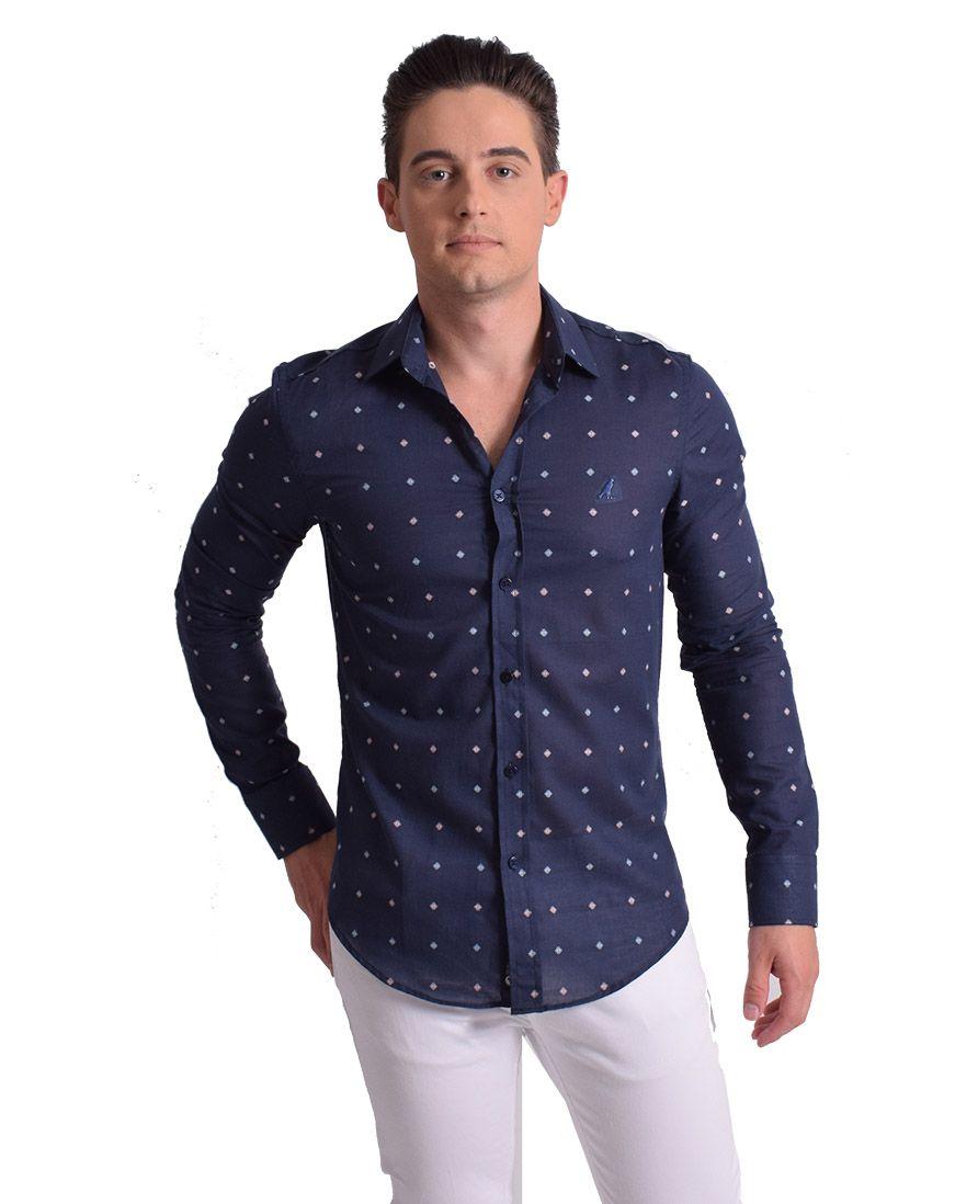 100248 - Camisa Social Masculina Slim Estampada Azul - LEVOK