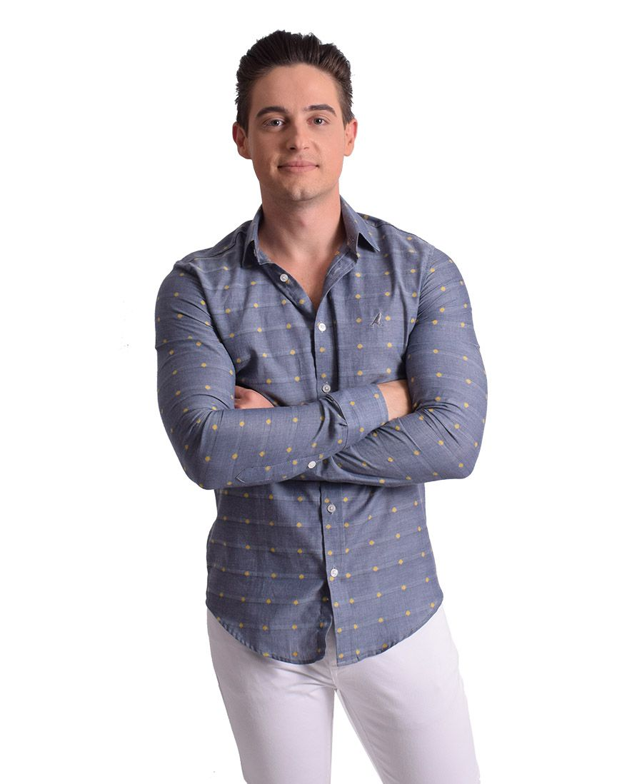 100249 - Camisa Social Masculina Slim Cinza Estampada - LEVOK