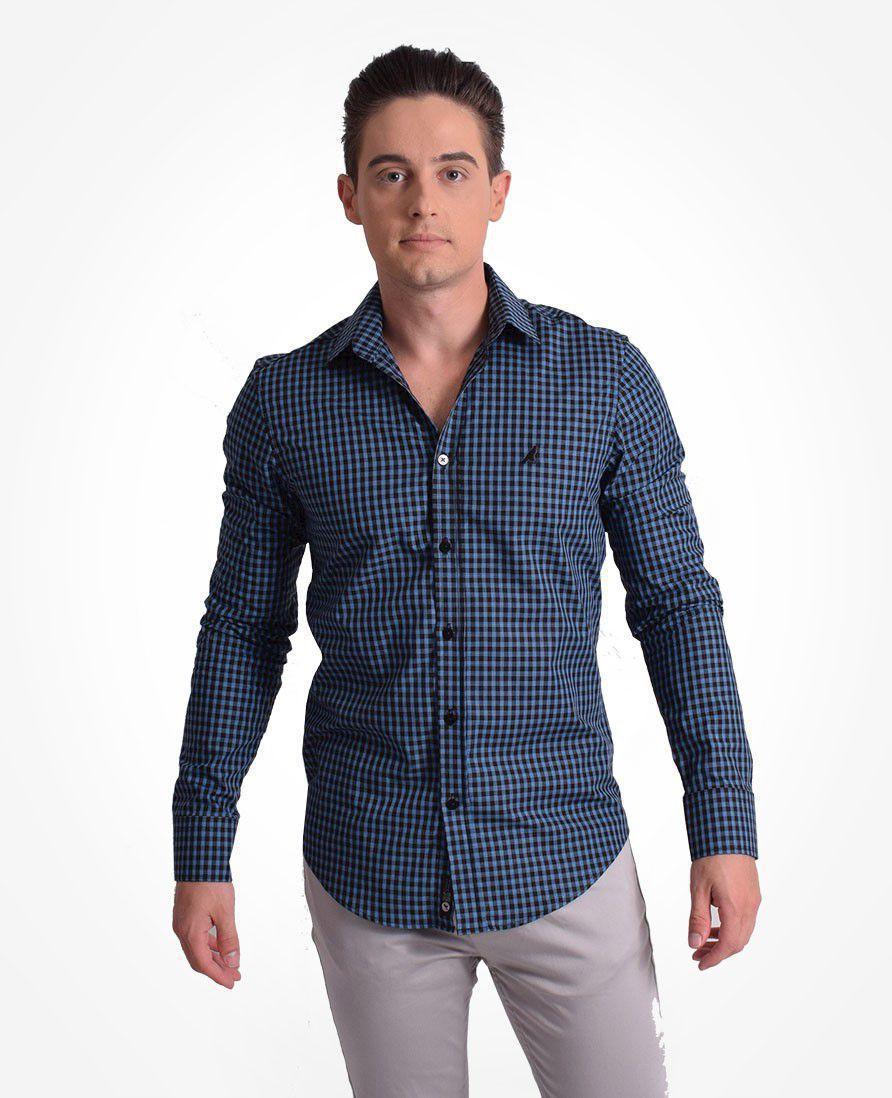 100250 - Camisa Social Masculina Slim Xadrez - LEVOK