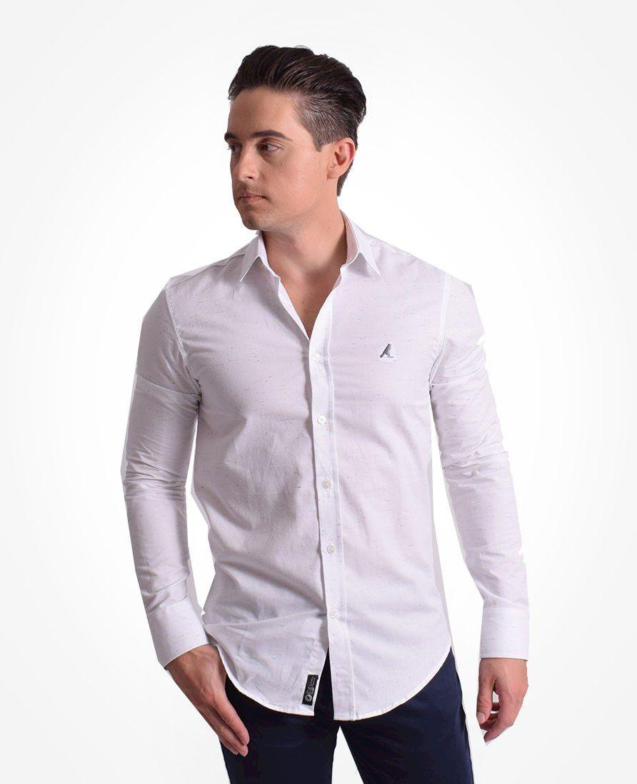 100252 - Camisa Social Masculina Slim Branca Botone - LEVOK