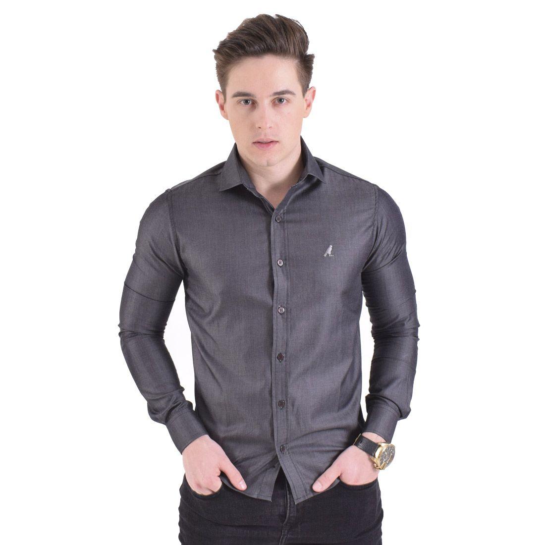 100253- Camisa Social Cinza Escuro Masculina Slim - LEVOK