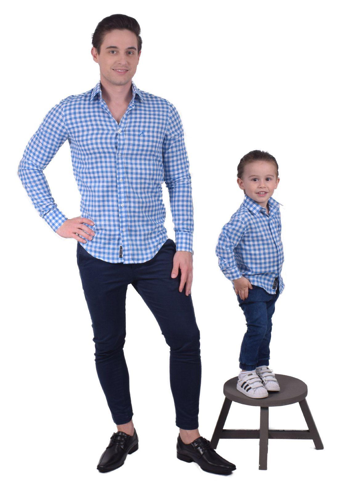 100256 - Camisa Social Masculina Slim Xadrez Azul 2 - LEVOK