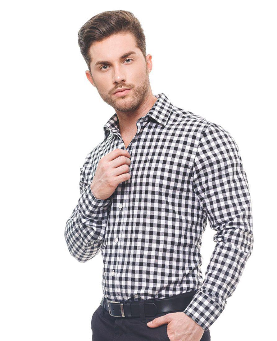Camisa Social Xadrez Preta Masculina Slim