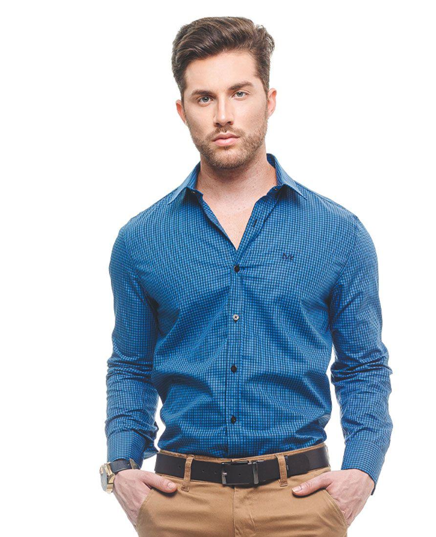 100279 - Camisa Social Masculina Slim Xadrez Azul 2 - LEVOK