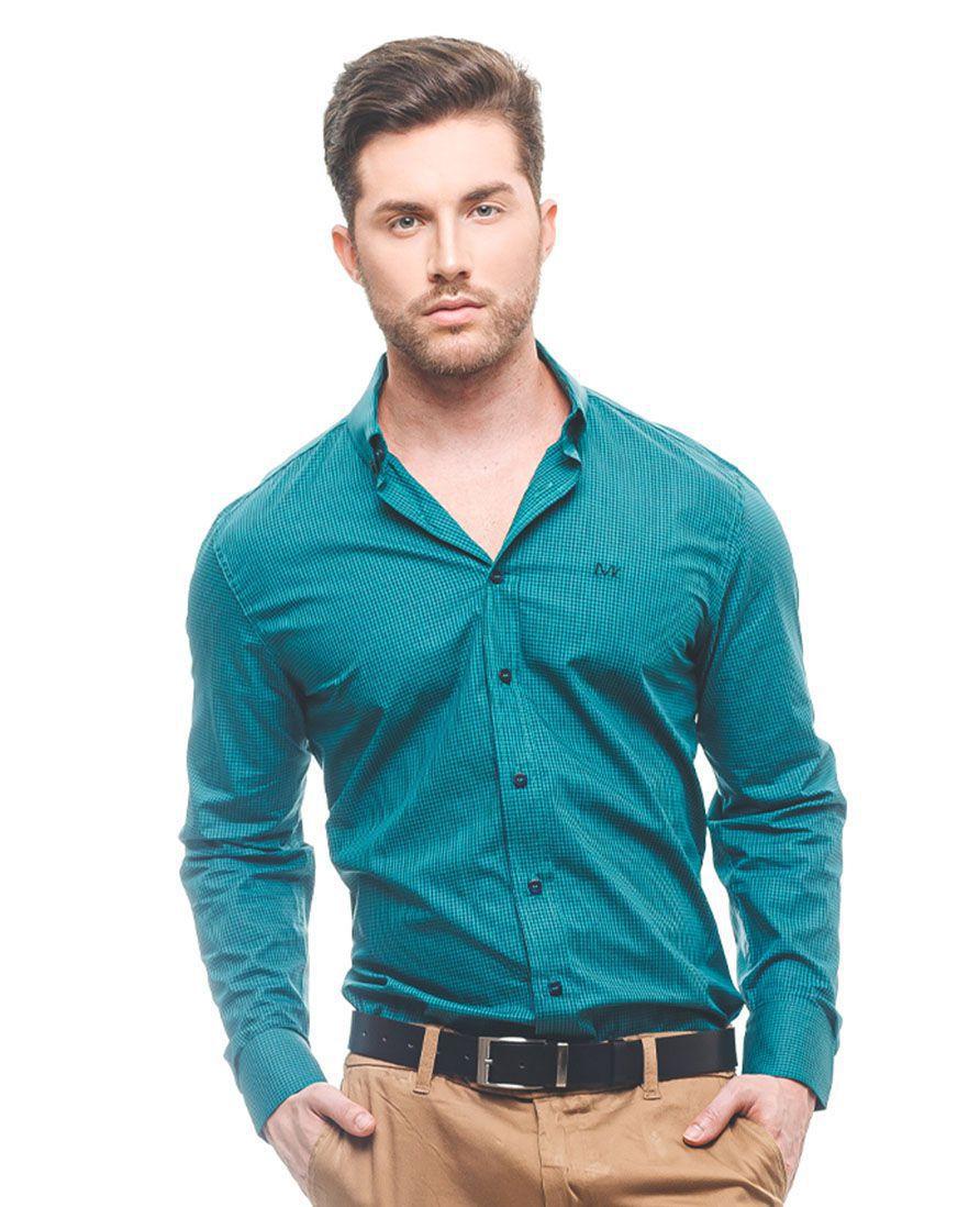 100280 - Camisa Social Masculina Slim Xadrez Verde - LEVOK