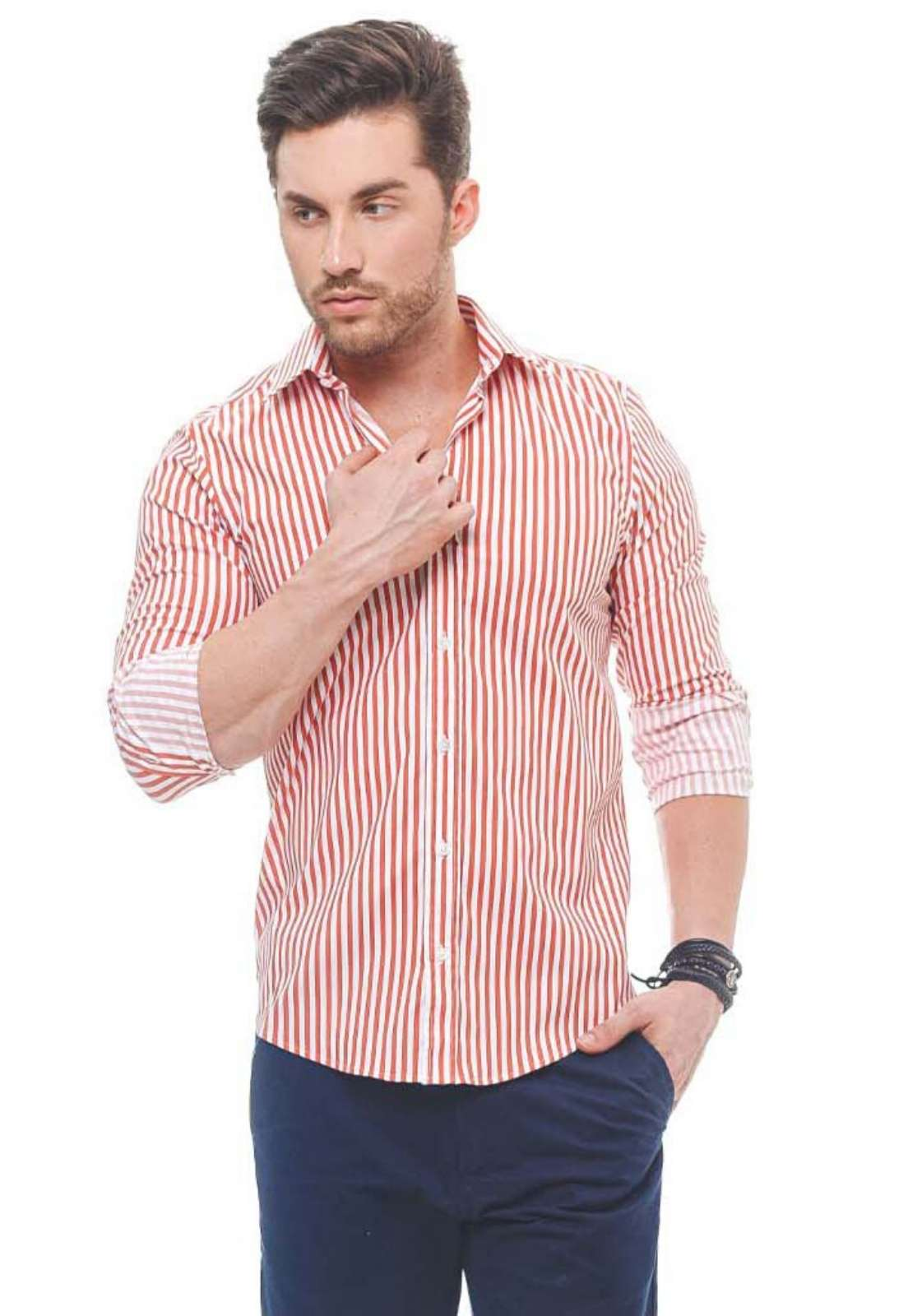 100281 - Camisa Social Masculina Slim Listra Vermelha - LEVOK