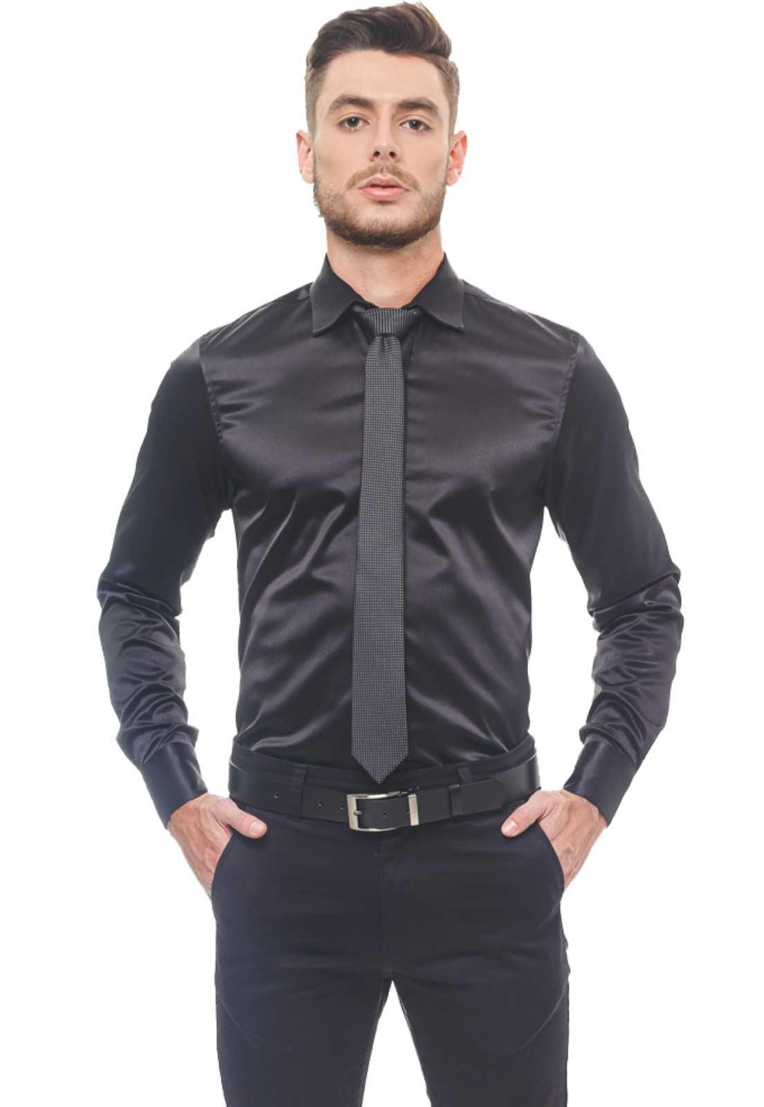 Camisa Social Masculina Preta Cetim