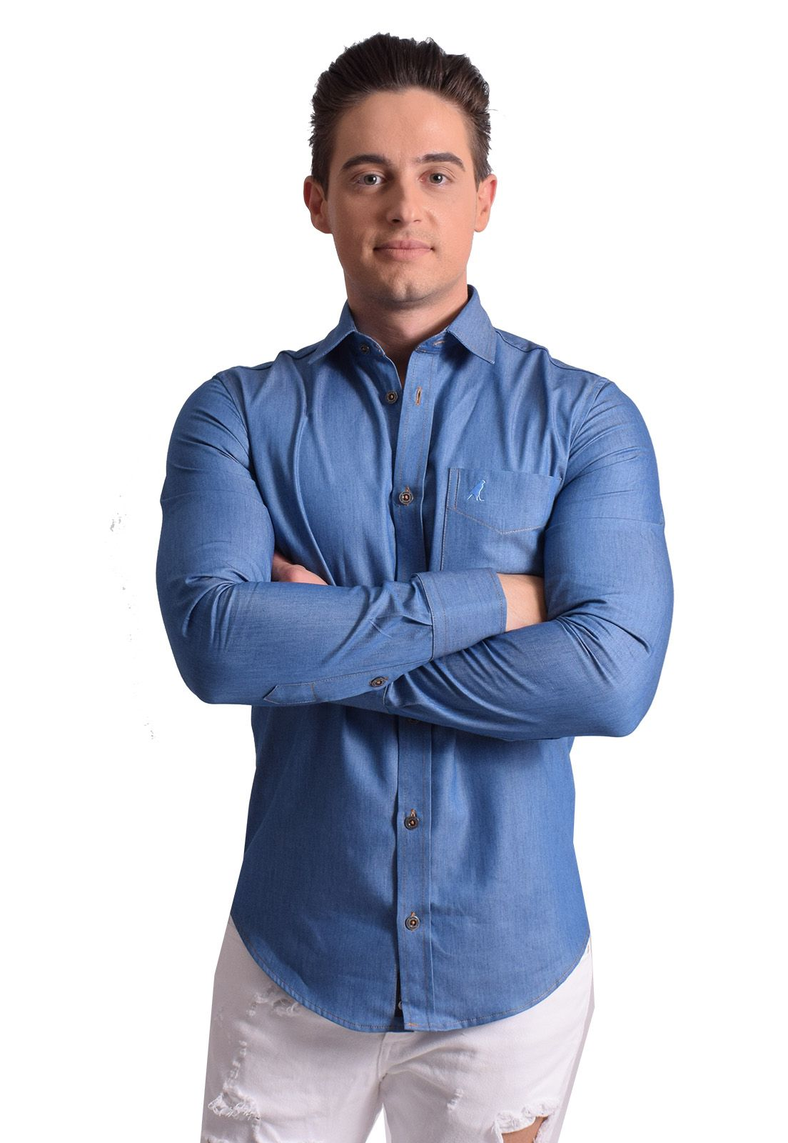 100301 - Camisa Social Jeans Masculina Slim - LEVOK